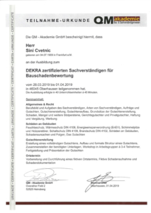 DEKRA zertifizierter Sachverständiger für Bauschadenbewertung
