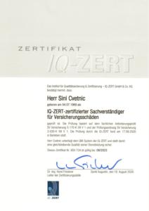 IQ-ZERT-zertifizierter Sachverständiger für Versicherungsschäden