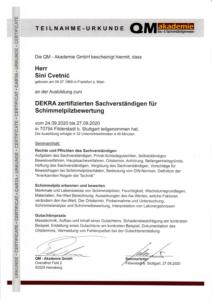 DEKRA zertifizierter Sachverständiger für Schimmelpilzbewertung